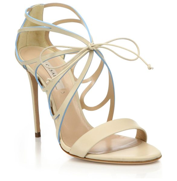 Casadei Butterfly cut-out high-heel leather sandals in nude