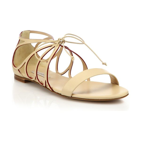 Casadei Butterfly cut-out leather sandals in nude - Butterfly-inspired cut-out sandal of smooth...