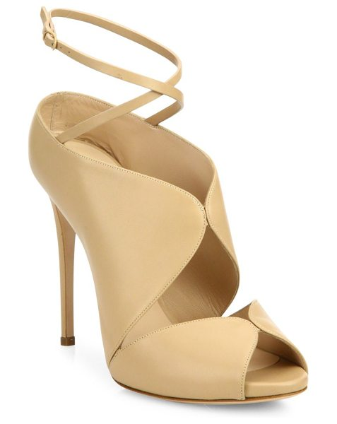 Casadei cutout leather ankle-wrap sandals in nude - Curvy-cutout leather sandal with wraparound ankle strap....