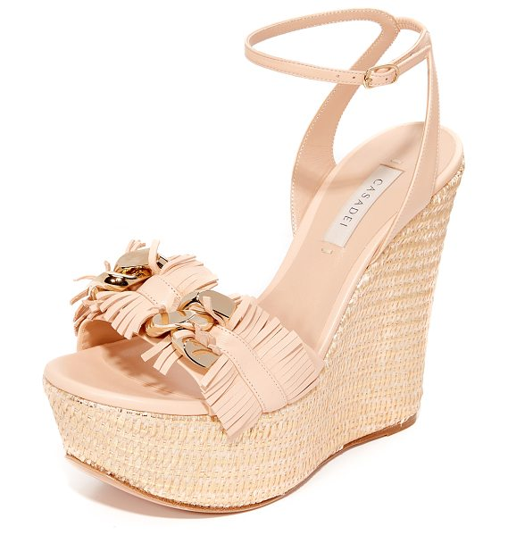 CASADEI jeweled wedge sandals in nude/gold - Suede Casadei platform sandals with a woven metallic...