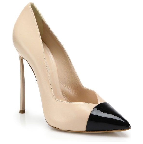 Casadei Leather blade-heeled cap-toe pumps in beige-black - A sculptural, super-slim heel balances this flawlessly...
