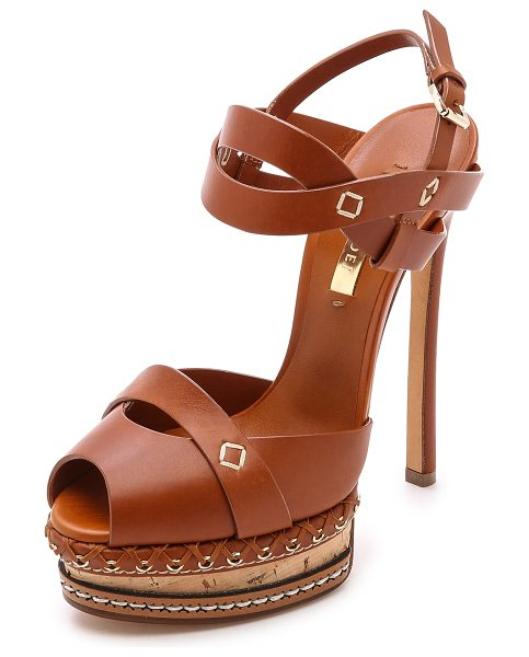 Casadei Leather & cork heels in brown - Rich leather and intricate platform detailing put an...