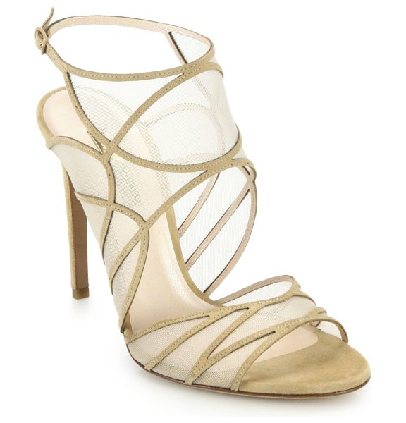 Casadei Mesh & suede sandals in beige - Sleek, smooth mesh lines the artful geometric cutouts of...