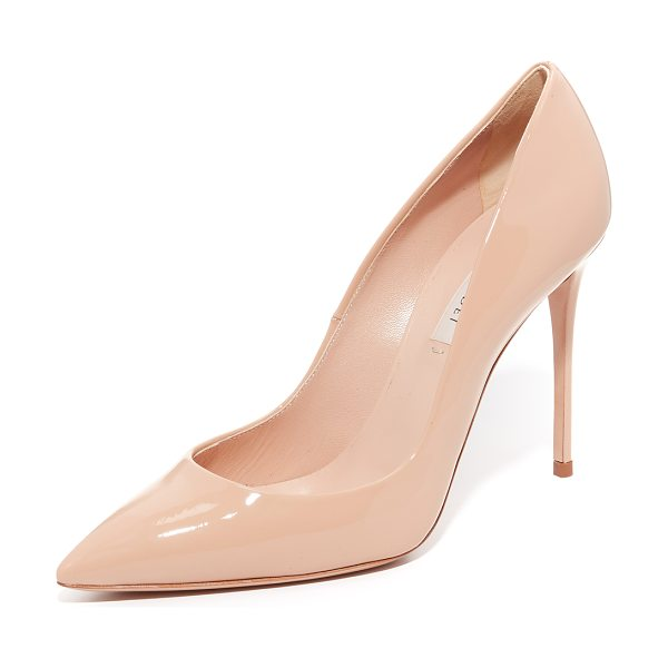 Casadei Pointed Toe Pumps in desert - Glossy patent Casadei pumps in a refined, pointed toe...