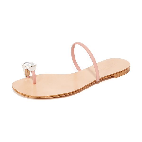 Casadei toe ring sandals in blush pink - A polished crystal ring encircles the toe on these...