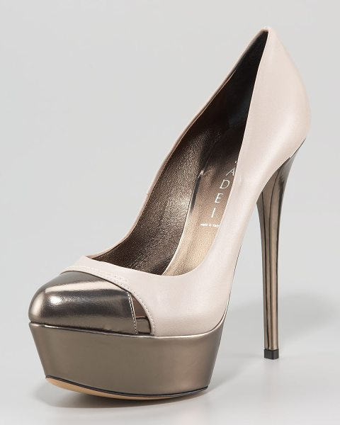 CASADEI Two-Tone Platform Pump - Choose stone/anthracite or black/anthracite. Two-tone...