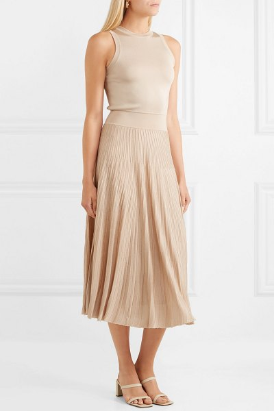 CASASOLA pleated stretch-knit midi dress in neutral - Barbara Casasola's love of clothes stems from childhood...