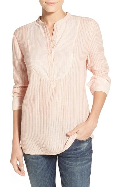 Caslon bib front mix stripe shirt in coral stripe colorblock - An inset bib patterned in contrast stripes adds depth to...