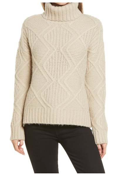 Caslon caslon chunky cable knit turtleneck sweater in brown