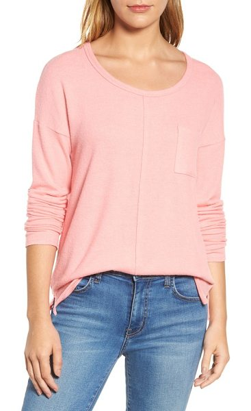 Caslon caslon cozy knit long sleeve tee in pink berry ice - You'll be glad this scoop-neck pullover comes in...