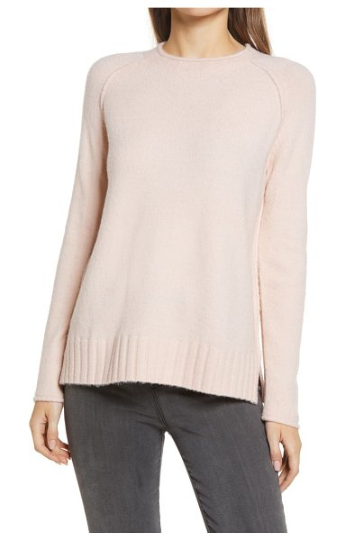 Caslon caslon cozy rolled crewneck sweater in pink