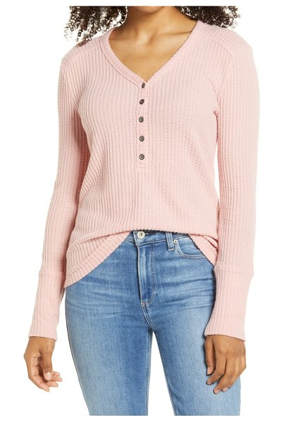 Caslon caslon high cuff henley top in pink