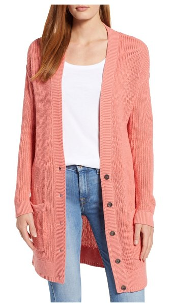 Caslon caslon long cardigan in pink lantana - Ease back into sweater weather with this elongated...