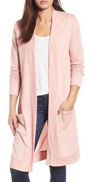 Caslon caslon long french terry cardigan in heather old rose - An open-front cardi in soft French terry makes a comfy,...