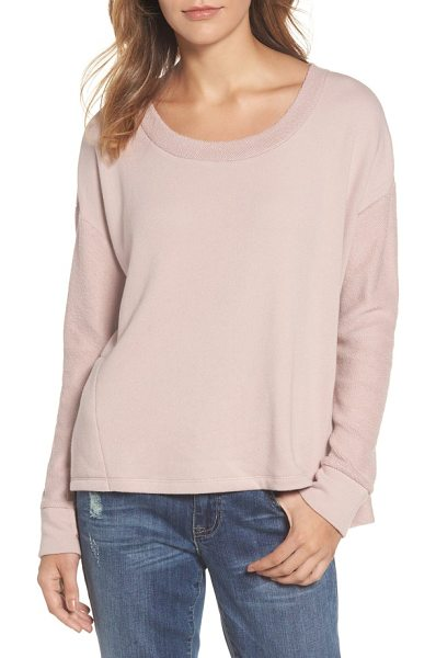 Caslon caslon relaxed sweatshirt in pink adobe - Dropped shoulder seams and a split high-low hem add to...