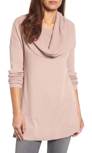 Caslon caslon side slit cowl neck tunic in pink smoke