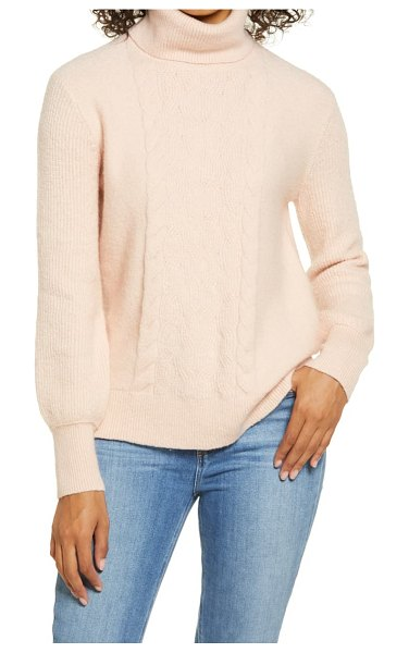 Caslon caslon turtleneck cable knit sweater in pink