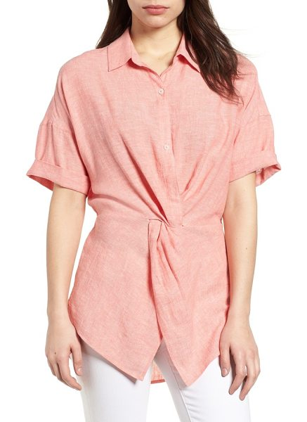 Caslon caslon twist front linen blend shirt in coral rose crossdye - A twisted detail at the front and a cinched waist in...