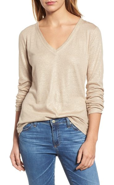 Caslon caslon v-neck shimmer tee in brown - Subtle shimmer washes over this layer-worthy top styled...