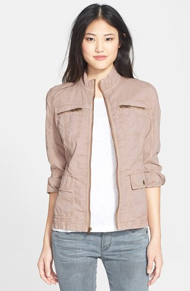 Caslon cotton twill utility jacket in tan memoir - Durable cotton twill brings rugged appeal to a...