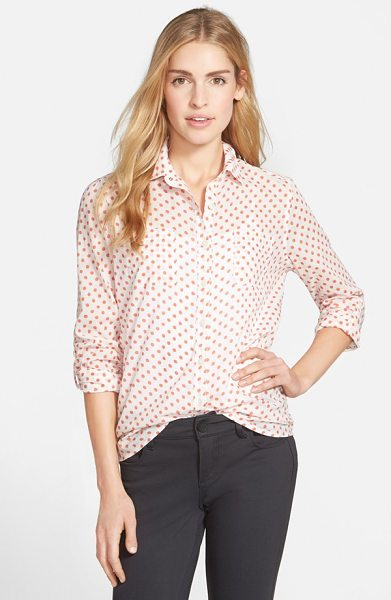 Caslon long sleeve shirt in ivory- coral print