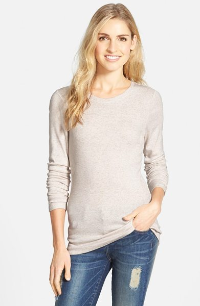 Caslon long sleeve scoop neck cotton tee in heather oatmeal - A wardrobe staple for transitional weather is cut from a...