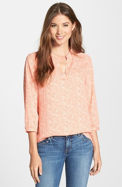 Caslon split neck blouse in coral rose- coral print
