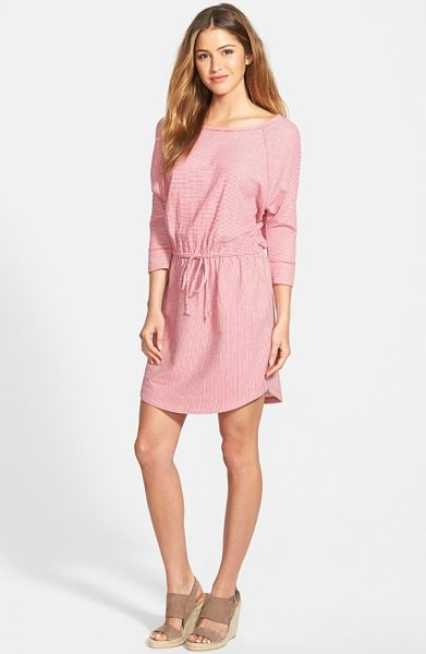CASLON stripe three-quarter sleeve drawstring waist dress - A tunneled drawstring reins in the easy silhouette of a...