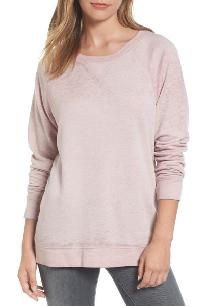 Caslon caslon burnout sweatshirt in pink adobe - Lightweight burnout knit updates a classic raglan-sleeve...