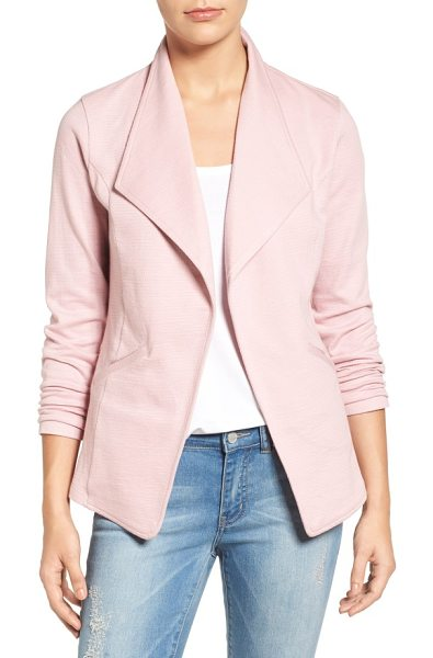 Caslon caslon cotton knit open front blazer in pink zephyr pattern - A cotton-knit fabrication and open-front styling bring a...
