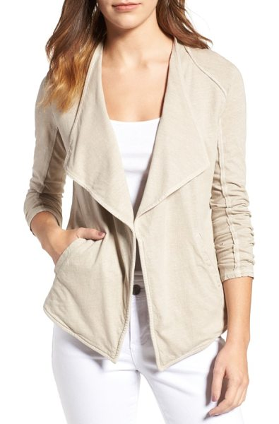 Caslon caslon drapey knit jacket in tan cobblestone - Raw-edge exposed seams bring a nonchalant, deconstructed...