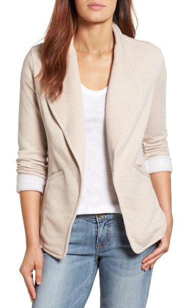 CASLON caslon knit blazer in tan- white pattern - Classic blazer styling hits a more casual note in a soft...