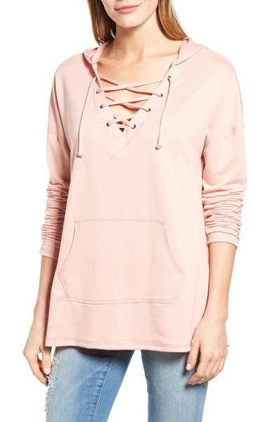 Caslon caslon lace-up hooded sweatshirt in blush - A drawstring-laced V-neck brings a nautical vibe to a...