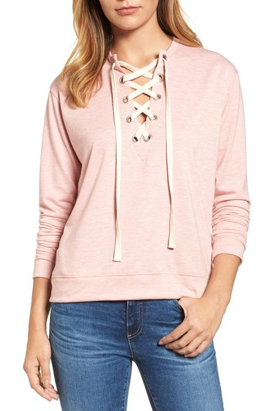 Caslon caslon lace-up sweatshirt in heather old rose - A deep V-neck cinched by grommet-threaded laces adds a...