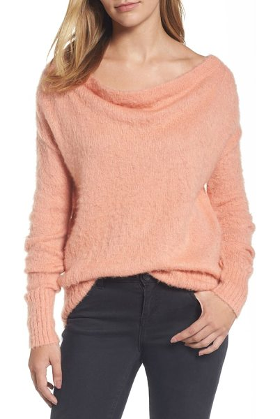 Caslon caslon long sleeve brushed sweater in coral clay - This cozy wool-blend pullover boasts a drapey scooped...