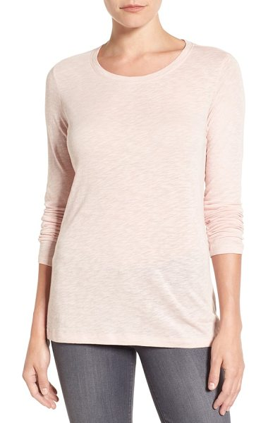 CASLON caslon long sleeve crewneck tee in pink smoke - A wardrobe staple for transitional weather is cut from a...