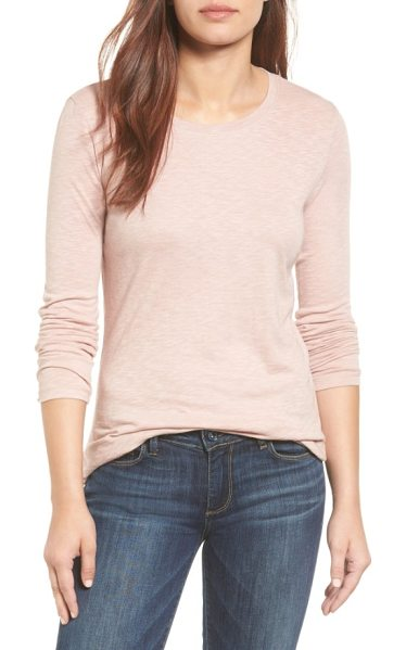 Caslon caslon long sleeve crewneck tee in pink adobe - A wardrobe staple for transitional weather is cut from a...