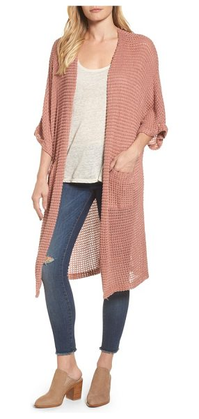 Caslon caslon long textured knit kimono cardigan in cinnamon pink - Feel like you're lounging all day long in this drapey...