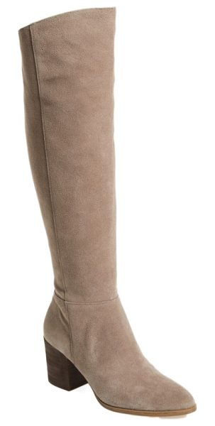 Caslon caslon mason knee high boot in stone suede - A textured block heel adds interest to an on-trend boot...