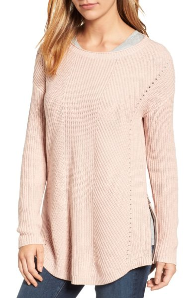 Caslon caslon rib knit cotton tunic in pink smoke - Airy eyelets run down each side of a striking rib-knit...