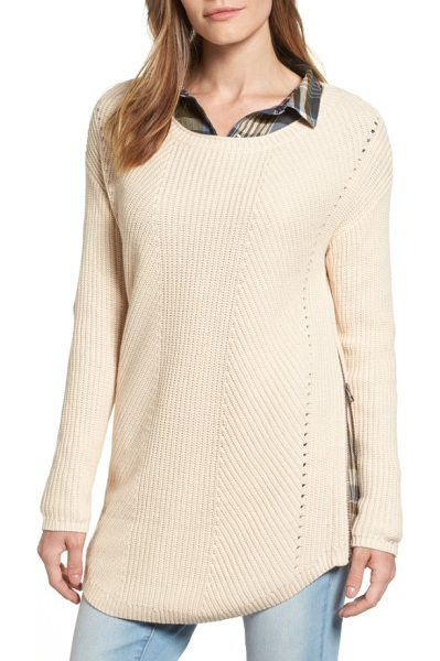 Caslon caslon rib knit cotton tunic in beige whisper - Airy eyelets run down each side of a striking rib-knit...