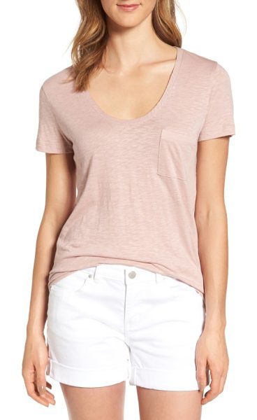 CASLON caslon rounded v-neck tee in pink adobe - A gently rounded V-neckline, short sleeves and a chest...