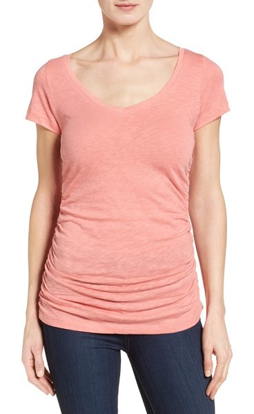 CASLON caslon shirred v-neck tee - A long, lean tee cast in a contemporary slubbed knit...