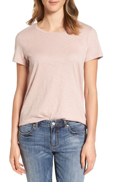Caslon caslon slub crewneck tee in pink adobe - A staple tee to collect in classic neutrals and fresh...