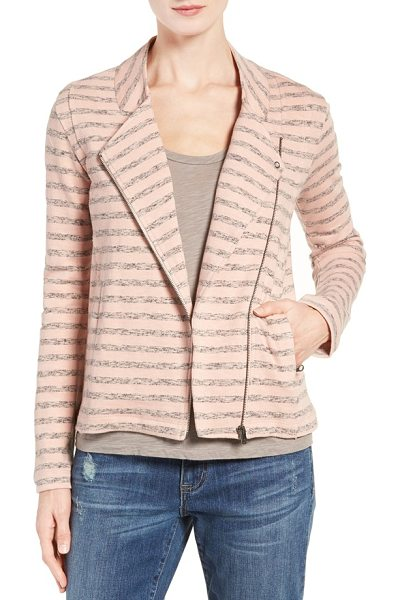 Caslon Caslon stripe moto jacket in pink- grey terry stripe - Heathered stripes mark this knit moto jacket, adding...