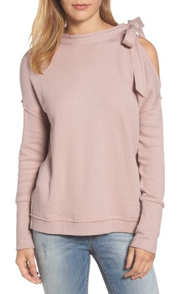 Caslon caslon tie cold shoulder sweatshirt in pink adobe - Get excited for the colder temps in this supersoft...