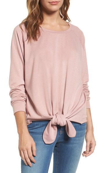 Caslon caslon tie front sweatshirt in dusty pink - A knotted front hem gathers the loose, flowing shape of...
