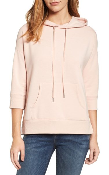 Caslon caslon woven inset knit hoodie in pink smoke - Slightly cropped sleeves and a flirty ruffled inset in...