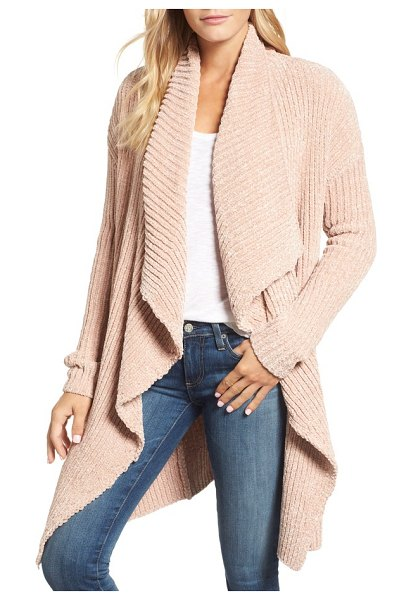 Caslon caslon long sleeve chenille cardigan in pink - This cozy chenille cardi is fashioned with thickly...
