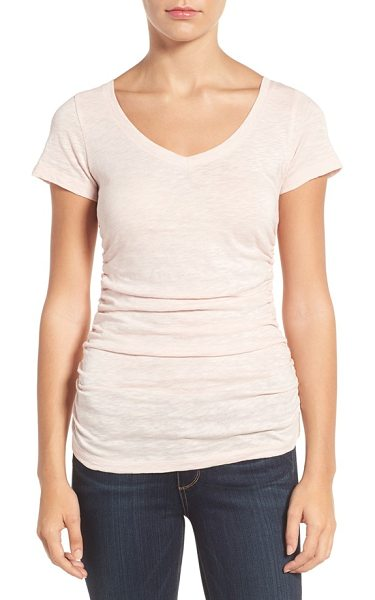 Caslon caslon shirred v-neck tee in pink peach - A long, lean tee cast in a contemporary slubbed knit...